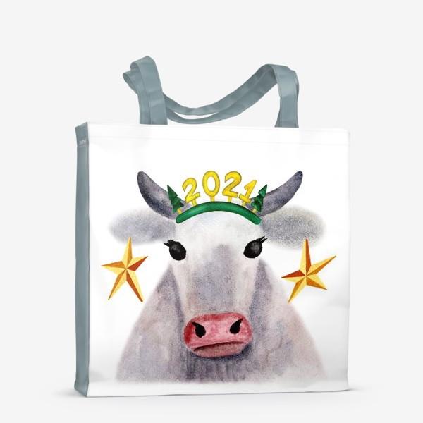Сумка-шоппер «Нарядная новогодняя буренка»