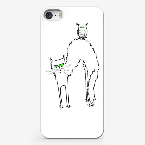 Чехол iPhone «Жуткий кот и филин с зелеными глазами. Хэллоуин. Halloween»