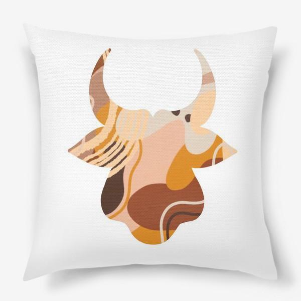 Подушка «Бык. Корова. Натуральные естественные сочетания. Современные цвета в стиле бохо. »