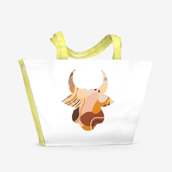 Пляжная сумка «Бык. Корова. Натуральные естественные сочетания. Современные цвета в стиле бохо. »