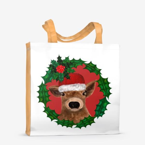 Сумка-шоппер «Новогодний теленок Борька»