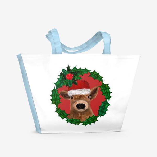 Пляжная сумка «Новогодний теленок Борька»
