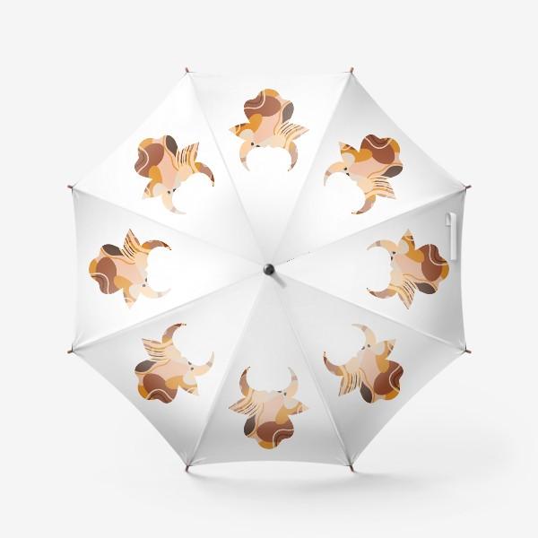 Зонт «Бык. Корова. Натуральные естественные сочетания. Современные цвета в стиле бохо. »