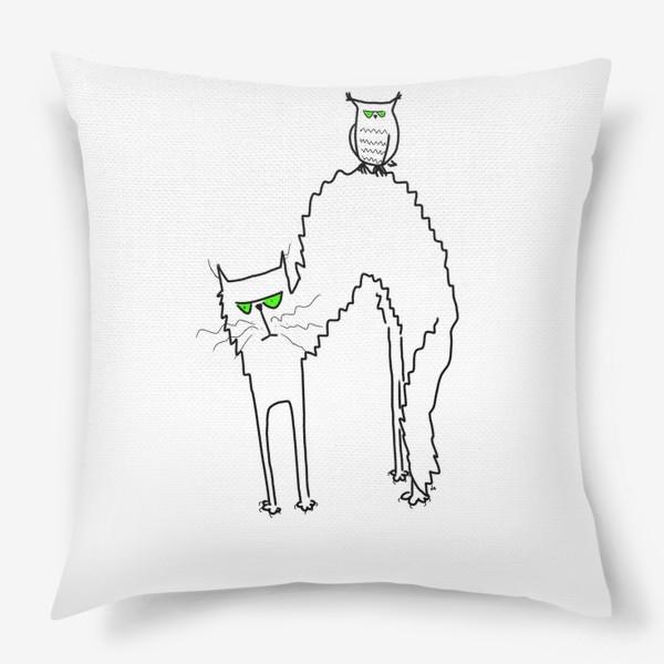Подушка «Жуткий кот и филин с зелеными глазами. Хэллоуин. Halloween»