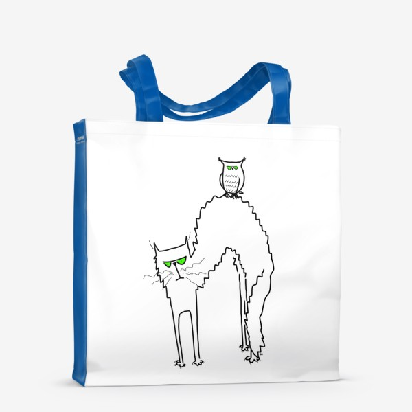 Сумка-шоппер «Жуткий кот и филин с зелеными глазами. Хэллоуин. Halloween»