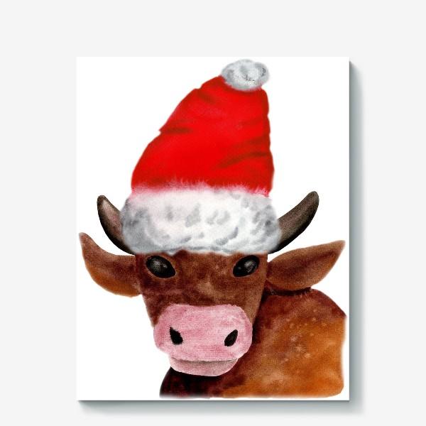 Холст «Новогодний бычёк в красном колпаке»