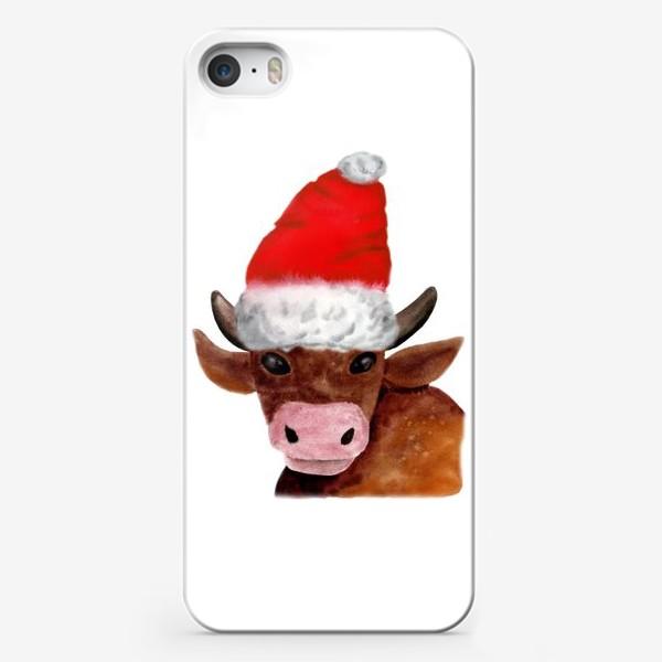 Чехол iPhone «Новогодний бычёк в красном колпаке»