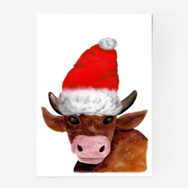 Постер «Новогодний бычёк в красном колпаке»