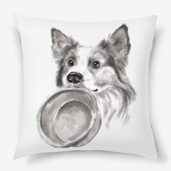 Подушка «Портрет собака колли с миской»