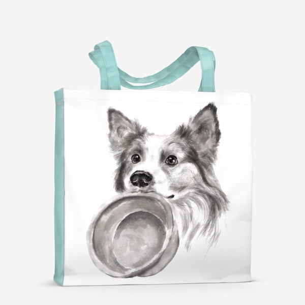 Сумка-шоппер «Портрет собака колли с миской»