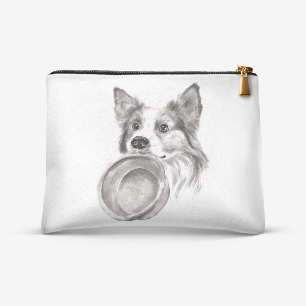 Косметичка «Портрет собака колли с миской»