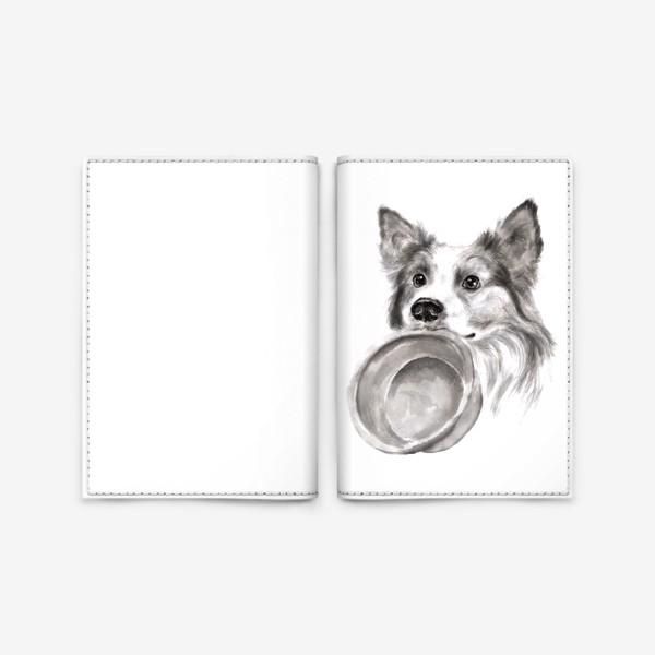 Обложка для паспорта «Портрет собака колли с миской»