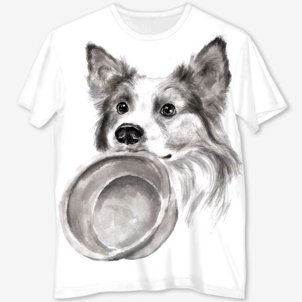 Футболка с полной запечаткой «Портрет собака колли с миской»