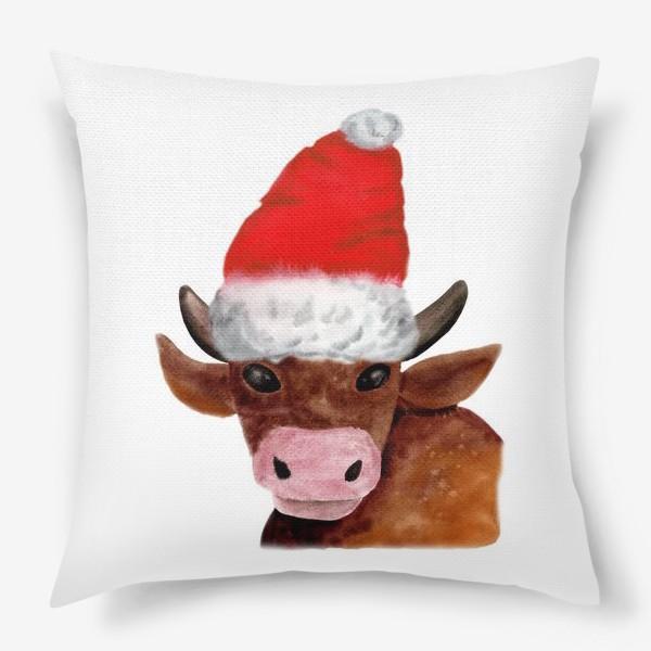Подушка «Новогодний бычёк в красном колпаке»