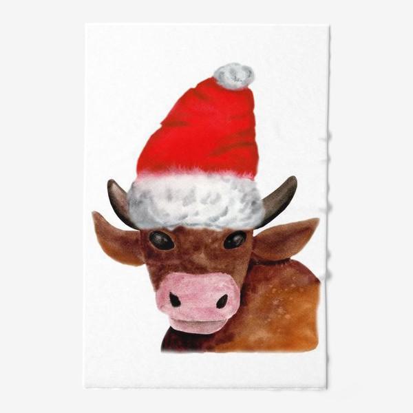 Полотенце «Новогодний бычёк в красном колпаке»