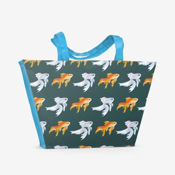 Пляжная сумка «Рыбки золотые и белые на зеленом»