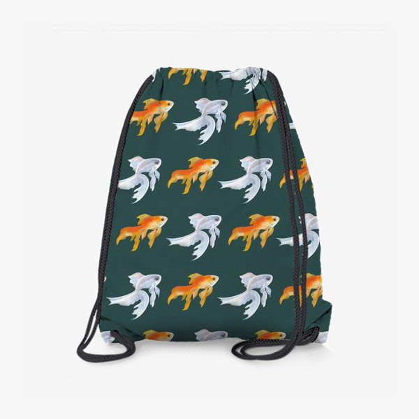 Рюкзак «Рыбки золотые и белые на зеленом»