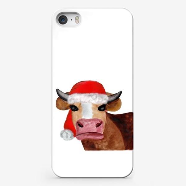 Чехол iPhone «Новогодняя бурёнка в красном колпаке»