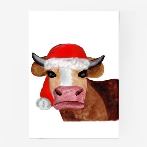 Постер «Новогодняя бурёнка в красном колпаке»