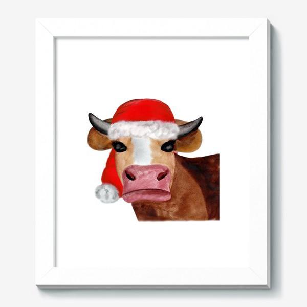 Картина «Новогодняя бурёнка в красном колпаке»