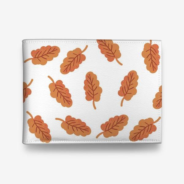 Кошелек «Осенние листья на белом фоне»