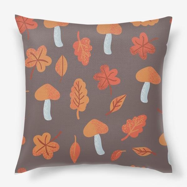 Подушка «Осенний паттерн, оранжевые листья и грибы»