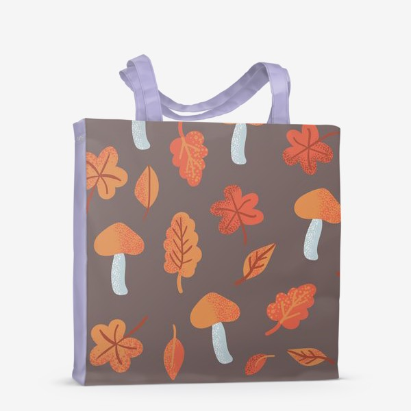 Сумка-шоппер «Осенний паттерн, оранжевые листья и грибы»