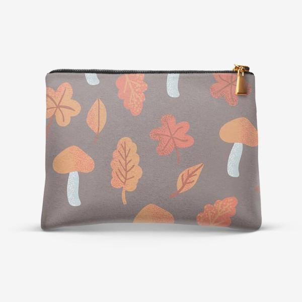 Косметичка «Осенний паттерн, оранжевые листья и грибы»