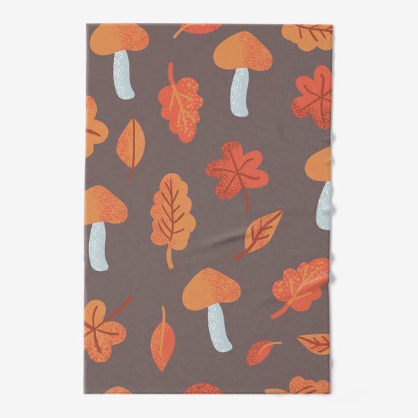 Полотенце «Осенний паттерн, оранжевые листья и грибы»