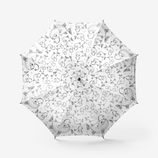 Зонт «Чёрно-белый паттерн с рыбками»