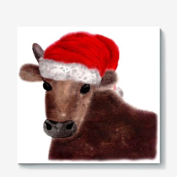 Холст «Новогодний бык Гриша в красном колпаке»