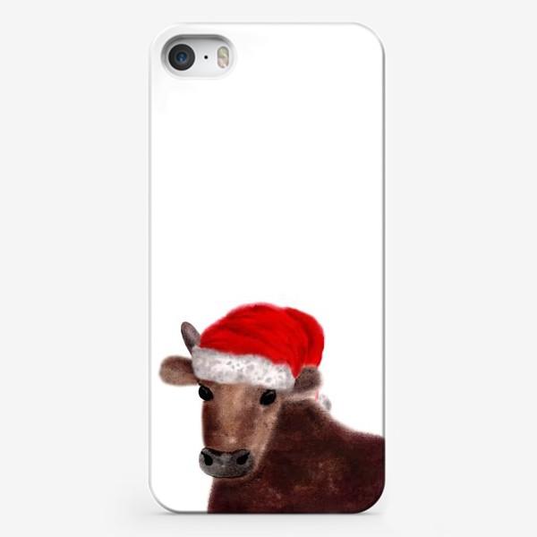Чехол iPhone «Новогодний бык Гриша в красном колпаке»