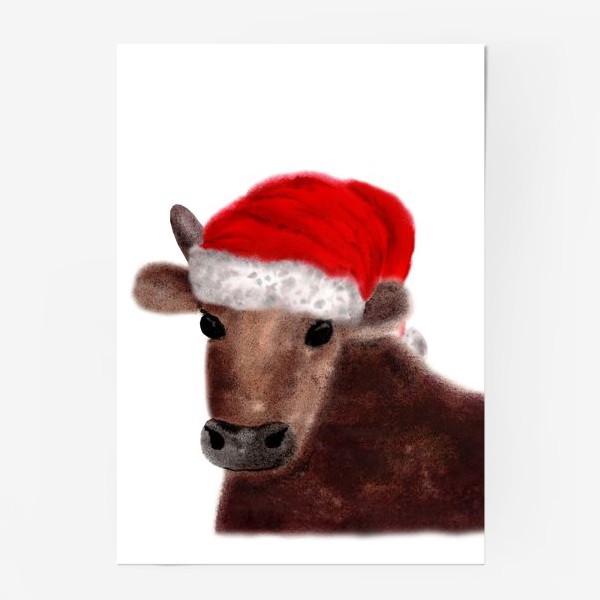 Постер «Новогодний бык Гриша в красном колпаке»