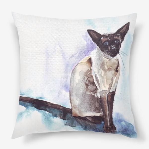 Подушка «Сиамский кот на голубом фоне»