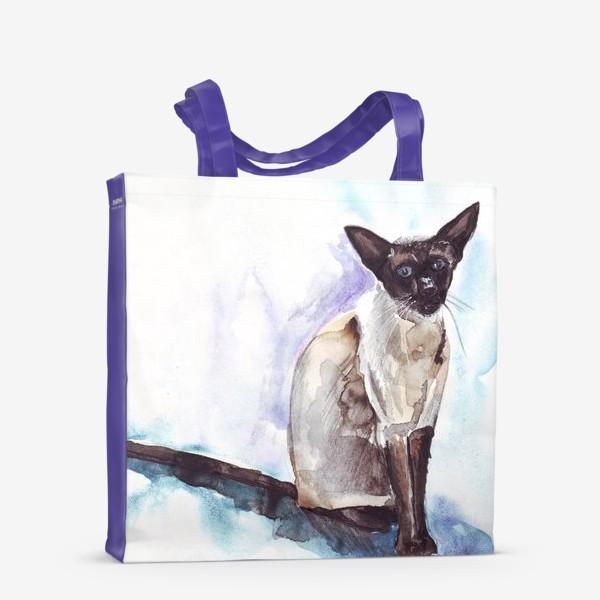 Сумка-шоппер «Сиамский кот на голубом фоне»