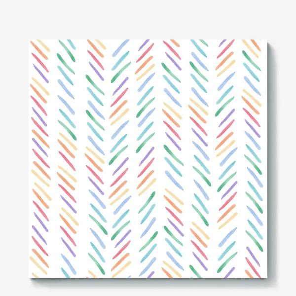 Холст «Разноцветные полоски шеврон радуга»