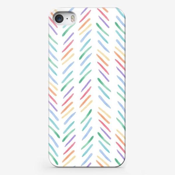 Чехол iPhone «Разноцветные полоски шеврон радуга»