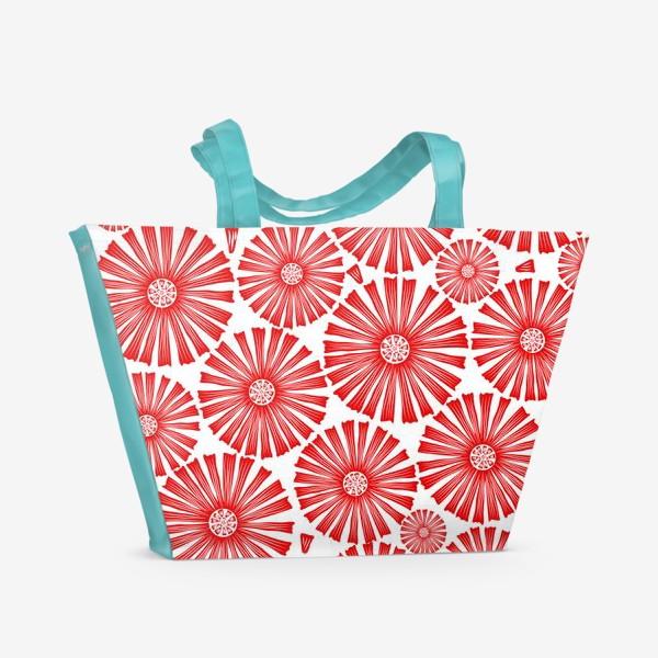 Пляжная сумка «абстрактные цветы,круги»