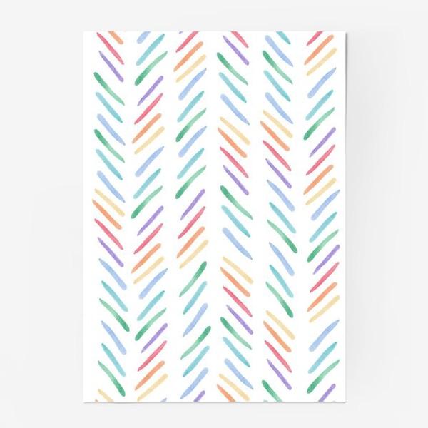 Постер «Разноцветные полоски шеврон радуга»