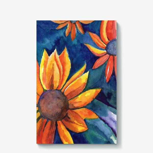 Холст «Цветы на синем фоне»