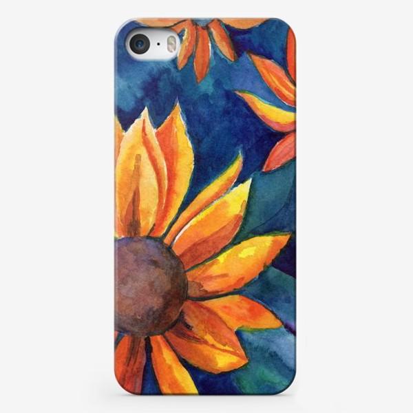 Чехол iPhone «Цветы на синем фоне»
