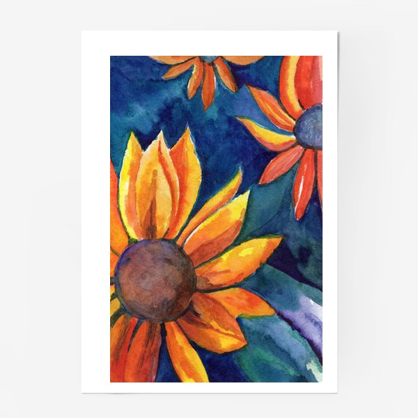 Постер «Цветы на синем фоне»