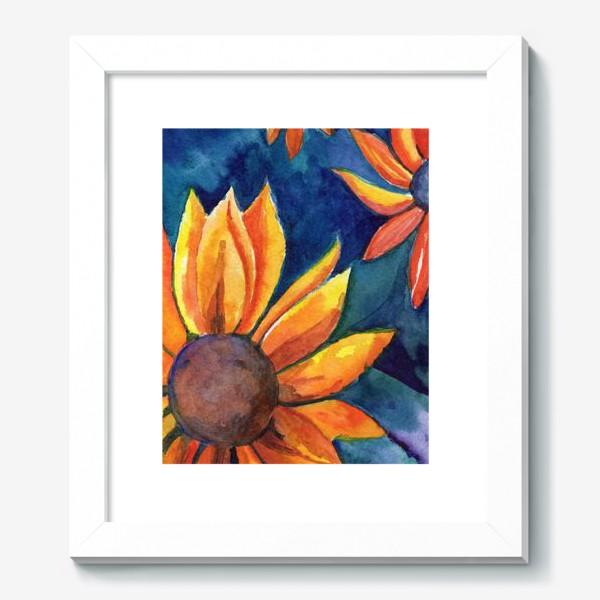 Картина «Цветы на синем фоне»
