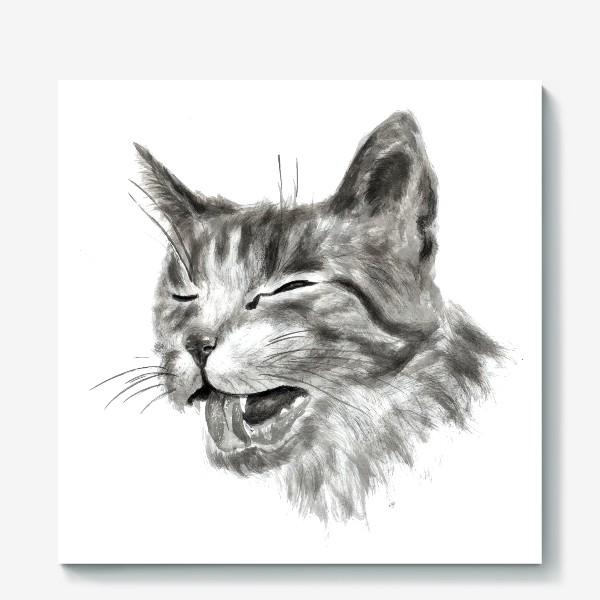 Холст «портрет кошка чихает»