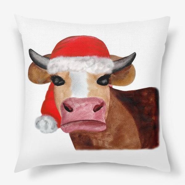 Подушка «Новогодняя бурёнка в красном колпаке»