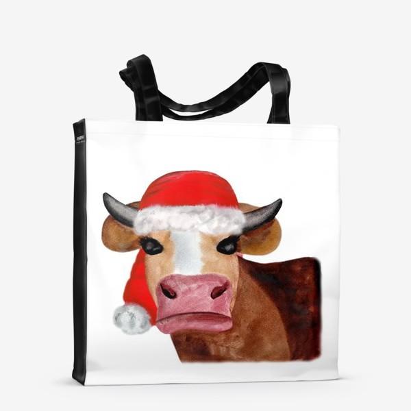 Сумка-шоппер «Новогодняя бурёнка в красном колпаке»