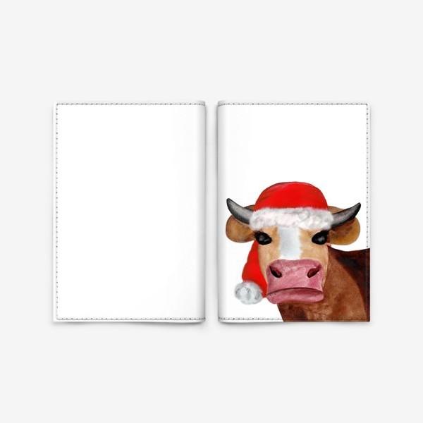 Обложка для паспорта «Новогодняя бурёнка в красном колпаке»