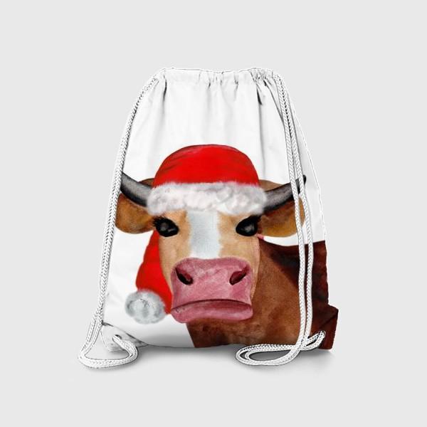 Рюкзак «Новогодняя бурёнка в красном колпаке»