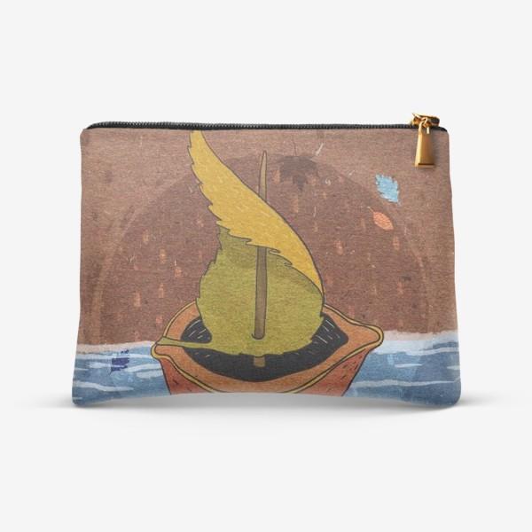 Косметичка «Кораблик из ореховой скорлупки и листика. Крафт тема.»