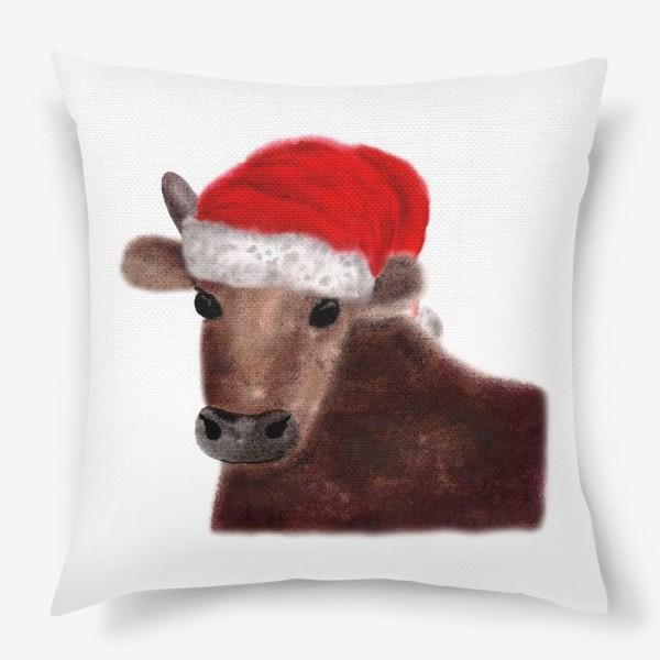 Подушка «Новогодний бык Гриша в красном колпаке»